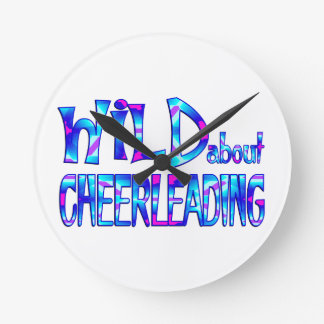 Wild About Cheerleading Round Clock
