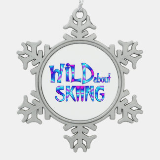 Wild About Skiing Snowflake Pewter Christmas Ornament
