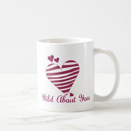 Wild About You Heart Valentine Mug