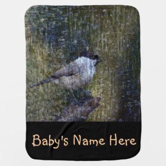 Wild  Abstract Chickadee Baby Blanket