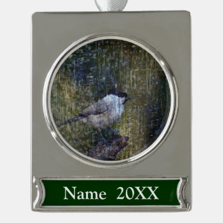 Wild  Abstract Chickadee Silver Plated Banner Ornament
