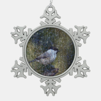 Wild  Abstract Chickadee Snowflake Pewter Christmas Ornament