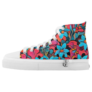 Wild Abstract Flowers Printed Shoes