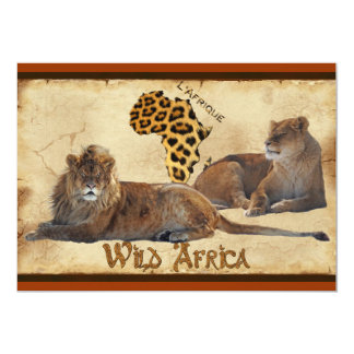 Wild Africa, Lions, Map Travel Agents Cards 13 Cm X 18 Cm Invitation Card
