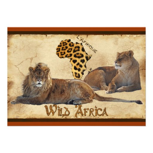 Wild Africa, Lions, Map Travel Agents Cards Custom Invite