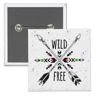 Wild and Free 15 Cm Square Badge