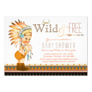 Wild and Free Boys Tribal Boho Baby Shower 13 Cm X 18 Cm Invitation Card