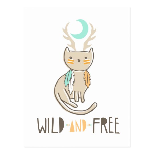 """Wild and Free"" Catalope Totem Postcard"
