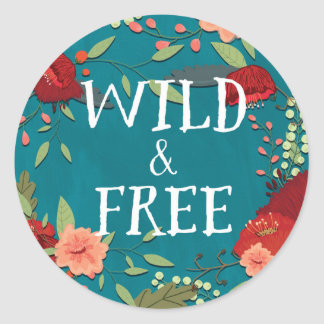 Wild and Free Classic Round Sticker