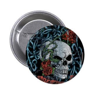 Wild and Free Rose Skeleton Skull 6 Cm Round Badge