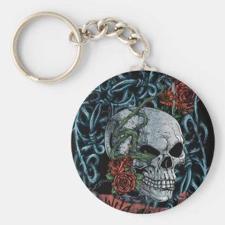Wild and Free Rose Skeleton Skull Basic Round Button Key Ring