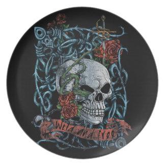 Wild and Free Rose Skeleton Skull Dinner Plates