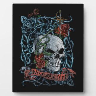 Wild and Free Rose Skeleton Skull Display Plaque