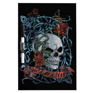 Wild and Free Rose Skeleton Skull Dry Erase Whiteboard