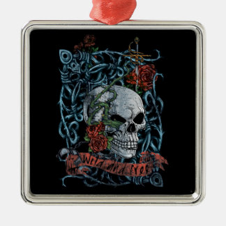 Wild and Free Rose Skeleton Skull Silver-Colored Square Decoration