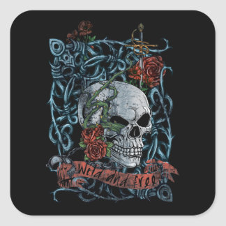 Wild and Free Rose Skeleton Skull Square Sticker