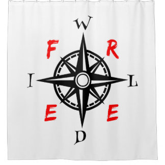 Wild And Free Traveller Compass Shower Curtain