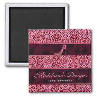 Wild and Girly Pink Cheetah Print Square Magnet
