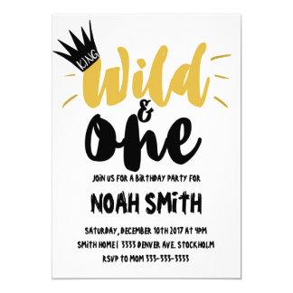Wild and one birthday boy birthday invitation