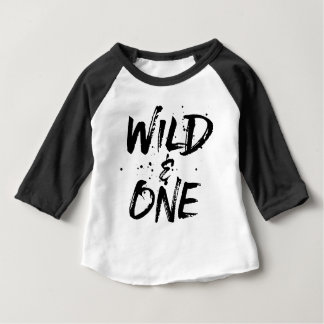 Wild And One Black Brushed Lettering Baby T-Shirt