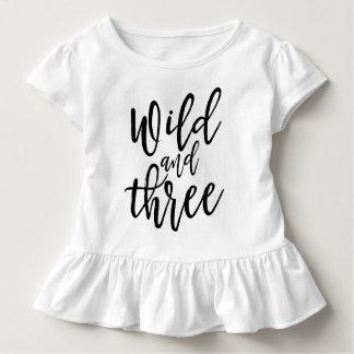 Wild And Three Black Handwritten Script Lettering Toddler T-Shirt