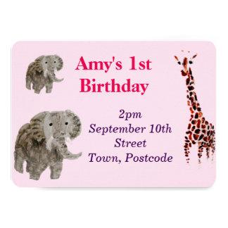 Wild Animal Art 11 Cm X 16 Cm Invitation Card