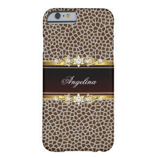 Wild Animal Brown Faux Gold Diamond Jewel Barely There iPhone 6 Case