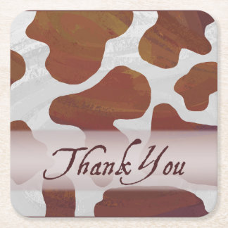 Wild Animal Cow Thank You Square Paper Coaster