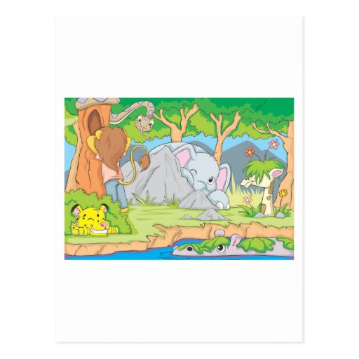 Wild Animal Friends Playing Hide and Seek Post Card