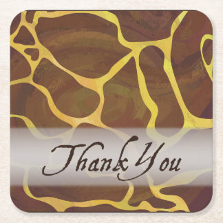 Wild Animal Giraffe Thank You Square Paper Coaster