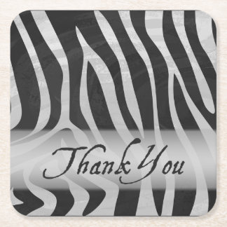 Wild Animal Gray Pattern Thank You Square Paper Coaster