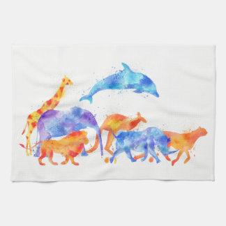 Wild Animal Group Colorful Watercolor Tea Towel