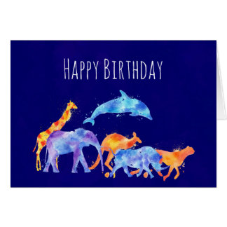 Wild Animal Herd Colorful Watercolor Birthday Card