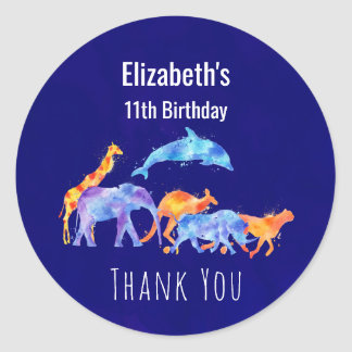 Wild Animal Herd Colorful Watercolor Birthday Classic Round Sticker
