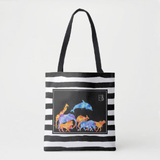 Wild Animal Herd Colorful Watercolor Monogram Tote Bag