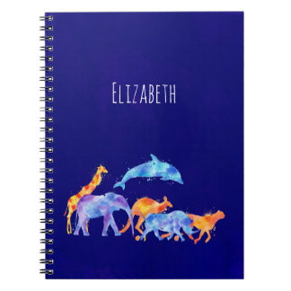 Wild Animal Herd Colorful Watercolor Notebooks