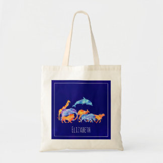 Wild Animal Herd Colorful Watercolor Tote Bag