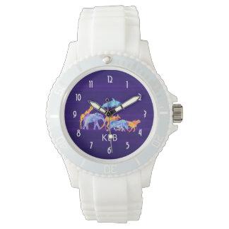 Wild Animal Herd on Purple Abstract Monogram Watch