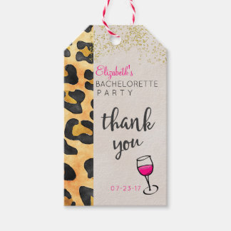 Wild Animal Pattern & Wine Bachelorette Thank You Gift Tags