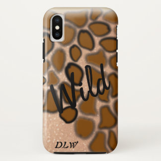 Wild Animal Print on Gold Personalized iPhone X Case