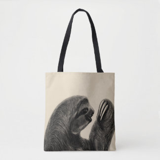 Wild Animal Rainforest South American Sloth Sketch Tote Bag