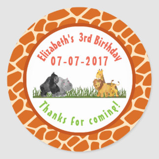 Wild Animal Safari Jungle Birthday Thanks Classic Round Sticker