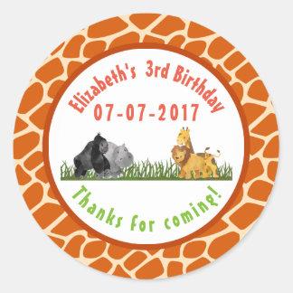 Wild Animal Safari Jungle Birthday Thanks Round Sticker