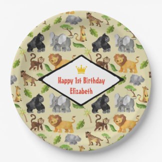 Wild Animal Safari Jungle Pattern Birthday Paper Plate