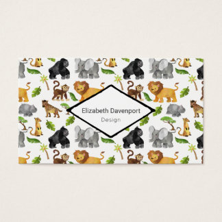 Wild Animal Safari Jungle Pattern Business Card
