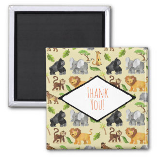 Wild Animal Safari Jungle Pattern Thank You Magnet
