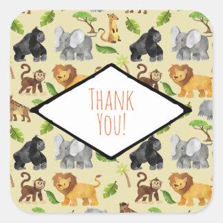 Wild Animal Safari Jungle Pattern Thank You Square Sticker