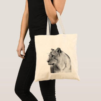 Wild Animal Savanna Grasslands Lioness Sketch Tote Bag