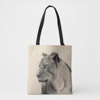 Wild Animal Savanna Grasslands Lioness Sketch Tote Bag