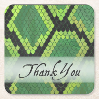Wild Animal Snake Thank You Square Paper Coaster